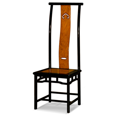 Black Trim Natural Finish Rosewood Chinese Ming Tall Chair
