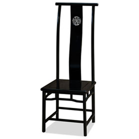 Black Rosewood Ming Chinese Longevity Tall Chair