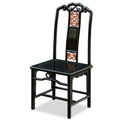 Black Rosewood Chinese Ming Design Side Chair with Natural Finish Accent
