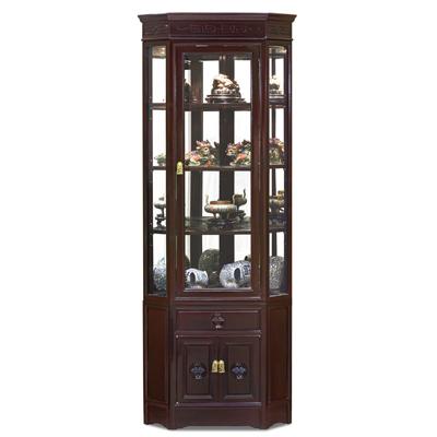 Dark Cherry Rosewood Chinese Longevity Corner Display Cabinet