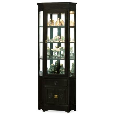 Black Rosewood Chinese Longevity Corner Cabinet