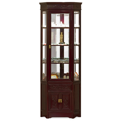 Dark Cherry Rosewood Flower and Bird Oriental Corner Display Cabinet