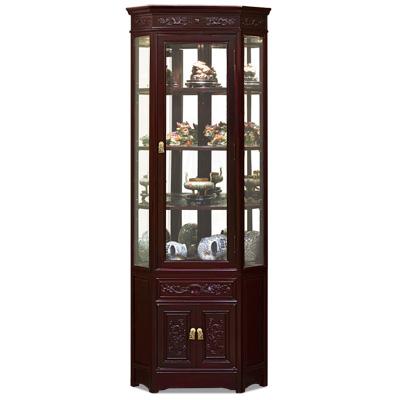 Dark Cherry Rosewood Dragon Oriental Corner Display Cabinet