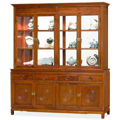 Natural Finish Rosewood Chinese Longevity China Cabinet