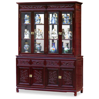 Dark Cherry Finish Rosewood Flower and Bird Motif Oriental China Cabinet