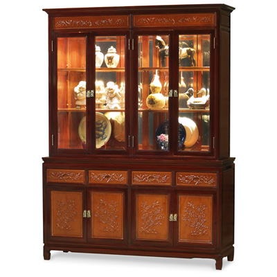 Mahogany Trim Natural Finish Rosewood Flower and Bird Oriental China Cabinet