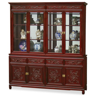 Dark Cherry Rosewood Dragon Oriental China Cabinet