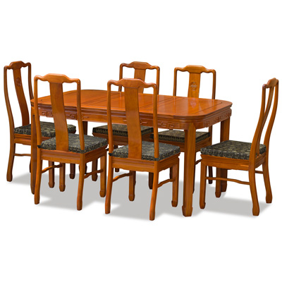 Natural Finish Rosewood Chinese Longevity Rectangle Dining Set with 6 Chairs