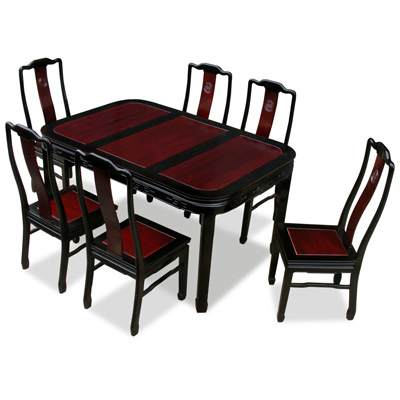 Black Trim Dark Cherry Rosewood Chinese Longevity Rectangle Dining Set with 6 Chairs