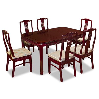 Dark Cherry Rosewood Flower and Bird Rectangle Oriental Dining Set with 6 Chairs