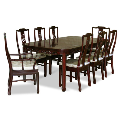 Dark Cherry Rosewood Flower and Bird Rectangle Oriental Dining Set with 8 Chairs