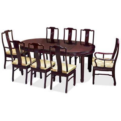 Dark Cherry Rosewood Chinese Longevity Oval Dining Set with 8 Chairs