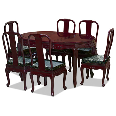 Cherry Rosewood Queen Anne Oval Oriental Dining Table with 6 Chairs