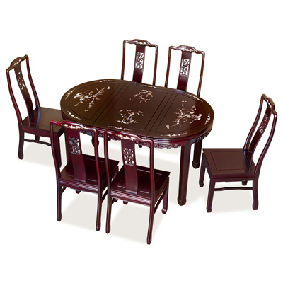 Dark Cherry Rosewood Flower and Bird  with Mother of Pearl Inlay Oval Dining Set with 6 Chairs