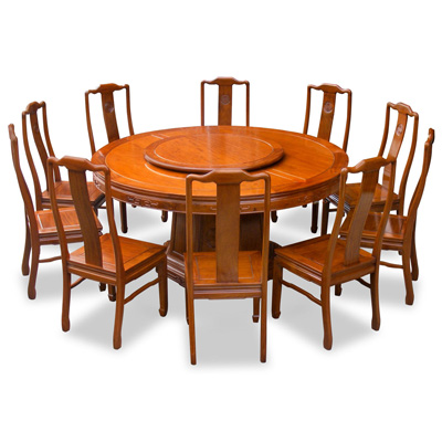 Natural Finish Rosewood Chinese Longevity Round Dining Set with 10 Chairs