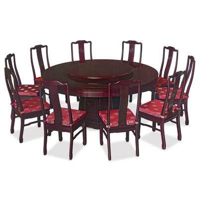 Dark Cherry Rosewood Chinese Longevity Round Dining Set with 10 Chairs