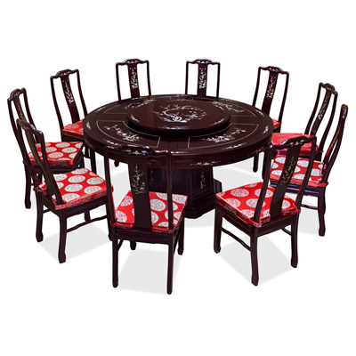 Dark Cherry Rosewood Mother of Pearl Inlay Round Dining Set with 10 Chairs