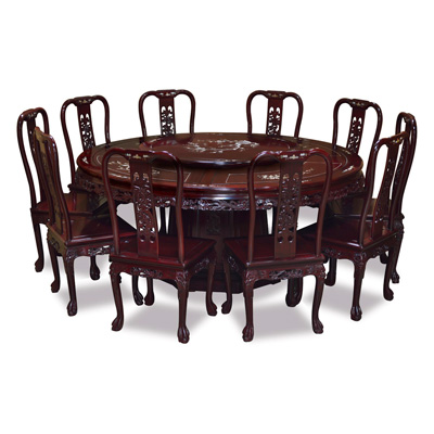 Dark Cherry Rosewood Queen Anne Dragon and Mother of Pearl Inlay  Round Dining Set  with 10 Chairs