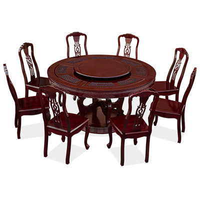Dark Cherry Rosewood Triple Coin Round Oriental Dining Set with 8 Chairs