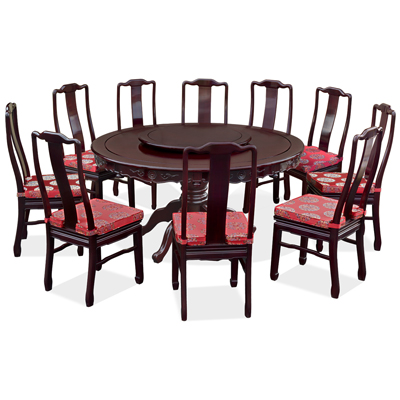 Dark Cherry Rosewood Round Oriental Dining Set with 10 Chairs