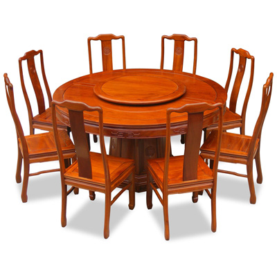 Natural Finish Rosewood Longevity Round Oriental Dining Set with 8 Chairs