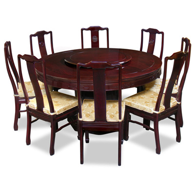 Dark Cherry Rosewood Longevity Round Oriental Dining Set with 8 Chairs
