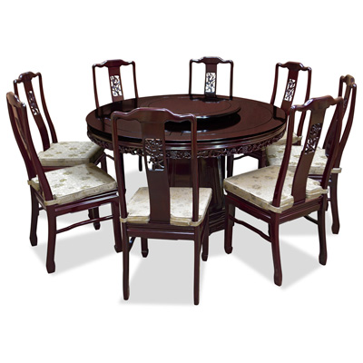 Cherry Rosewood Round Oriental Dining Set with 8 Chairs