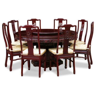 Dark Cherry Rosewood Flower and Bird Round Oriental Dining Set with 8 Chairs