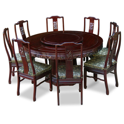 Dark Cherry Rosewood Dragon Round Oriental Dining Set with 8 Chairs