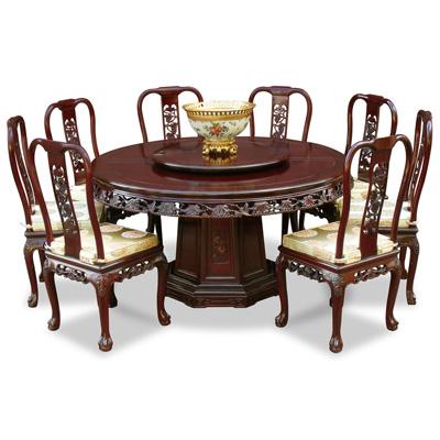 Dark Cherry Rosewood Queen Anne Grape Vine Round Oriental Dining Set with 8 Chairs