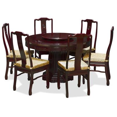 Dark Cherry Rosewood Chinese Longevity Round Dining Set with 6 Chairs