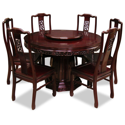 Dark Cherry Rosewood Flower and Bird Round Oriental Dining Set with 6 Chairs