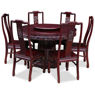 Dark Cherry Rosewood Dragon Round Oriental Dining Set with 6 Chairs