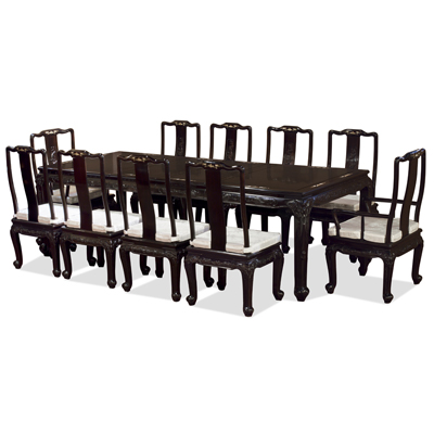 100in Black Ebony Elephant and Fish Motif with Mother of Pearl Inlay Oriental Dining Set with 10 Chairs