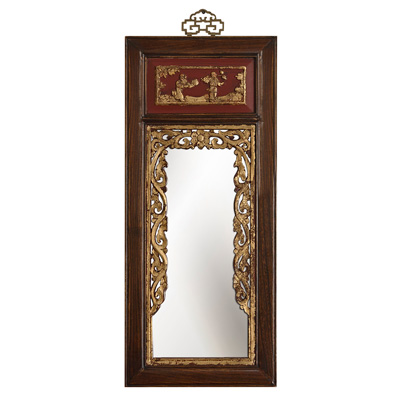 Antique Dark Brown Gilded Elmwood Panel Oriental Mirror