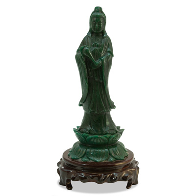 11 Inch Green Goldstone Guanyin Asian Statue