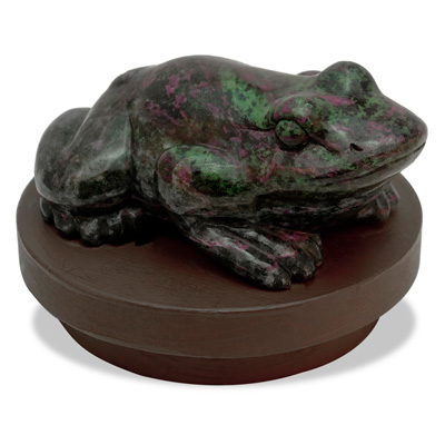 Ruby and Zoisite Toad Sculpture