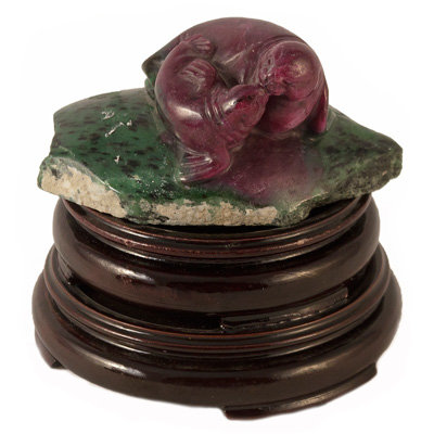 Ruby and Zoisite Seals Sculpture