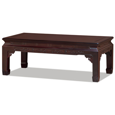 Dark Cherry Rosewood Key Design Rectangular Oriental Coffee Table