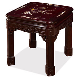 Dark Cherry Chinese Mother of Pearl Inlay Rosewood Imperial Lamp Table