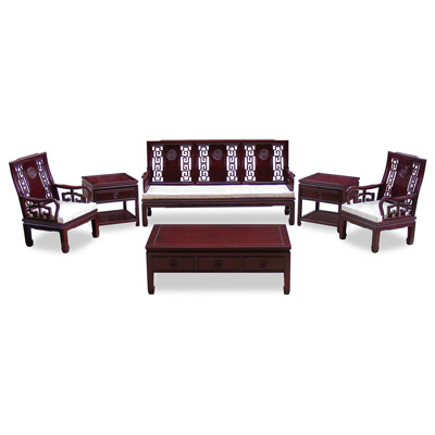 Dark Cherry Rosewood Chinese Longevity Living Room Set (6pcs)
