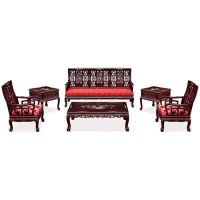 Dark Cherry Rosewood Mother of Pearl Inlay Imperial Dragon Living Room Set (6pcs)