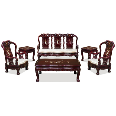 Dark Cherry Rosewood Mother of Pearl Inlay Imperial Living Room Set (6pcs)