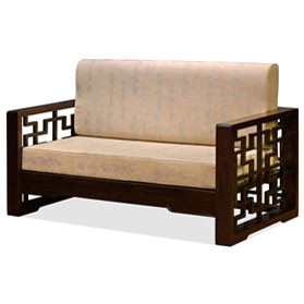 Dark Espresso Finish Elmwood Chinese Wang Zi Sofa Love Seat