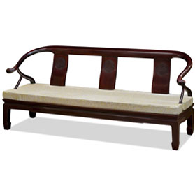 Dark Cherry Rosewood Chinese Longevity Horn Design Couch