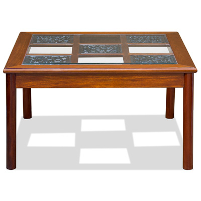 Natural Finish Rosewood Ming Square Chinese Coffee Table