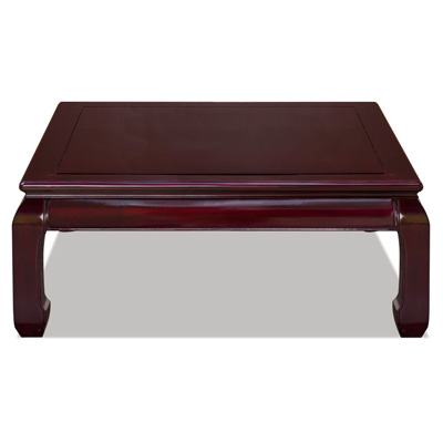 Dark Cherry Rosewood Ming Square Asian Coffee Table
