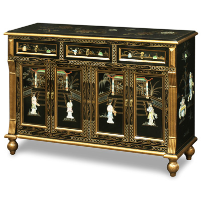 Gold Trim Black Lacquer Mother of Pearl Oriental Sideboard