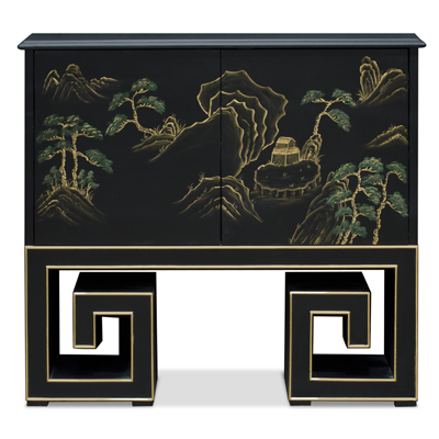 Black Lacquer Chinoiserie Scenery Motif Mandarin Cabinet