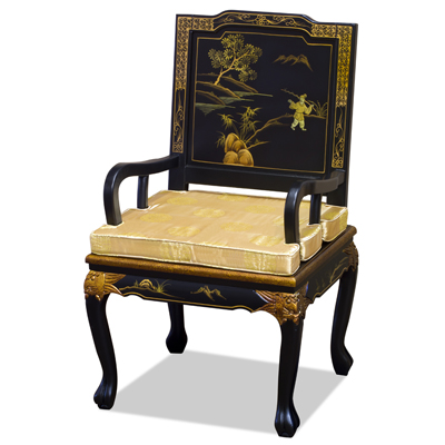 Black Queen Anne Chinoiserie Scenery Motif Oriental Arm Chair